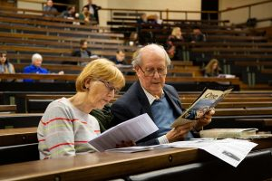 Audience members listening to the recording of 'Cambridge 1969'